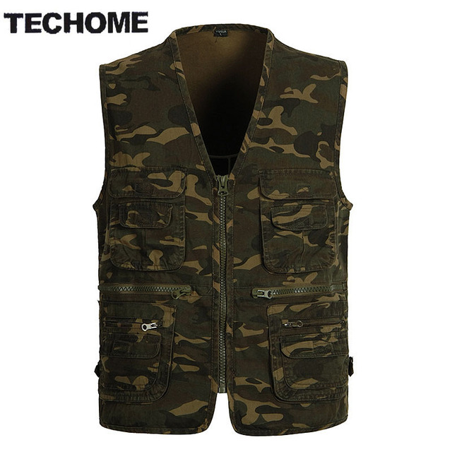 TECHOME Multi Pocket Camouflage Fish Vest Men Casual Travel Breathable Waistcoat Cotton Fish Sleeveless Jacket Camo Hunt Vests