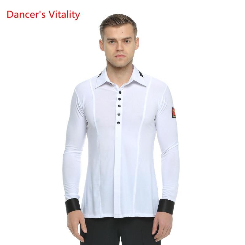 Long Sleeves Ballroom Dance Shirt Adult Man Waltz Ballroom Latin Dance Costume For Man's Dancing Practice/Performance Wear