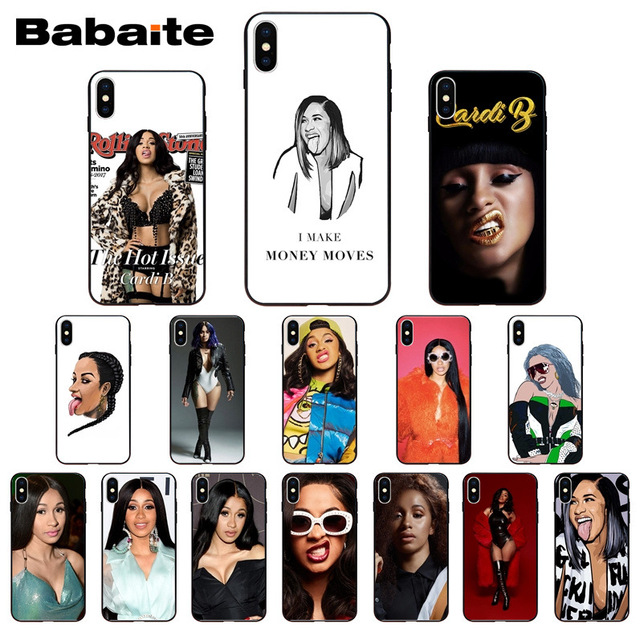 pretty nice 37708 00b67 US $0.72 27% OFF|Fashion Nova Cardi B tongue Finesse Black Soft Shell Phone  case Cover for iPhone 6S 6plus 7 7plus 8Plus X Xs MAX 5 5S XR Babaite-in ...