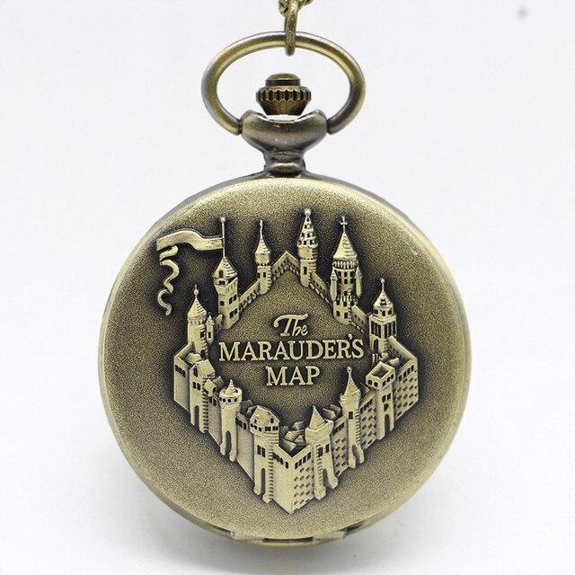 New Arrival Map Bronze Quartz Pocket Watch With Pendant Necklace Men Womens Watc