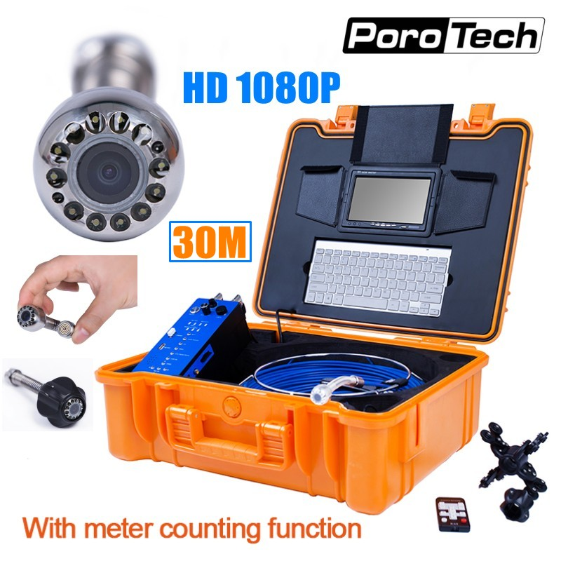 30M Cable Industrial Pipeline Endoscope with Meter Counter Keyboard DVR 1080P 25mm Drain Sewer Pipe Inspection Camera System H1
