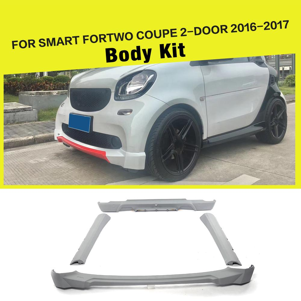 ПУ серый Авто Стиль бампера фартуки тела Наборы для смарт купе Fortwo 2 двери 2016 2017