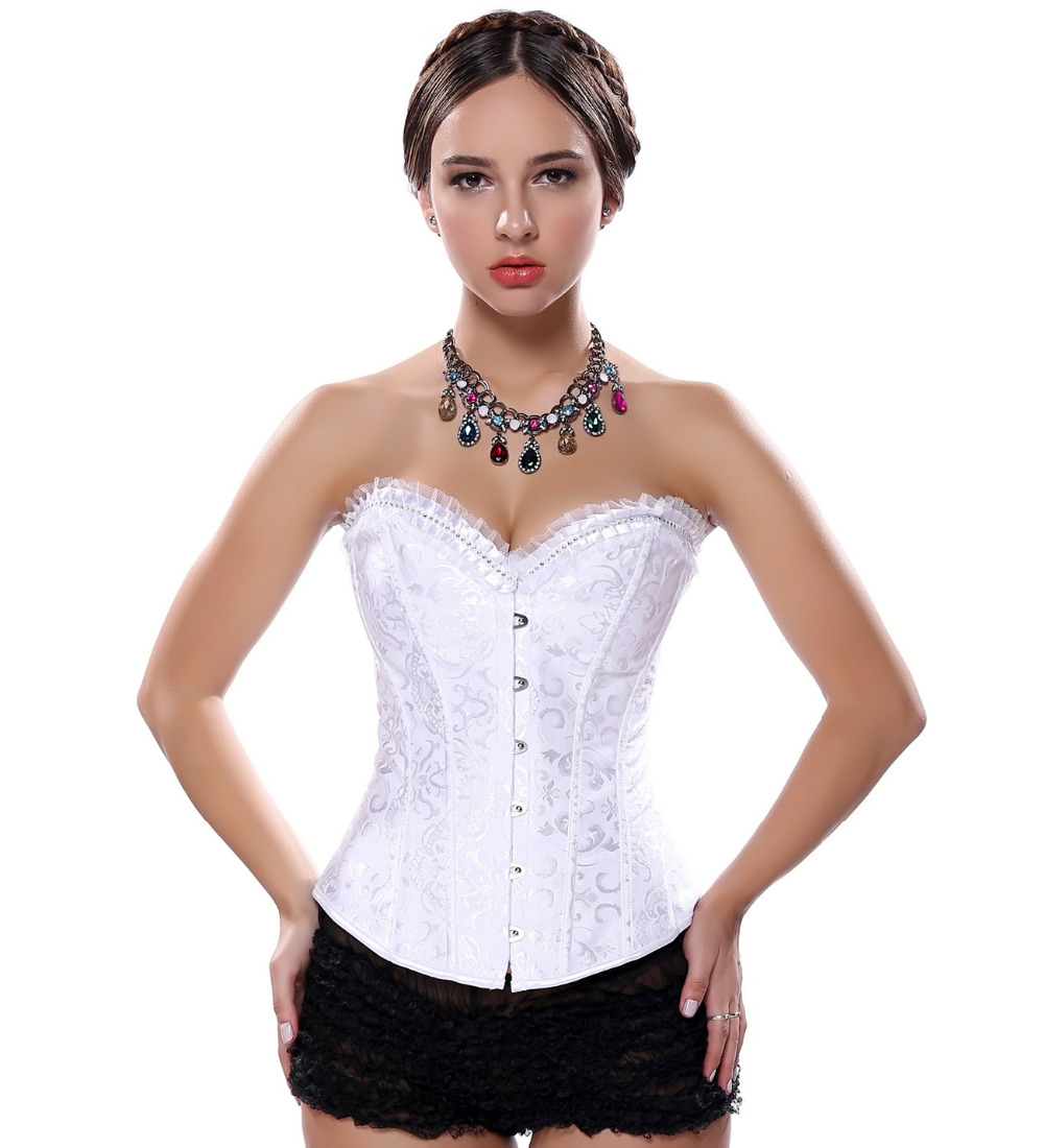 shop for great look 2019 clearance sale US $12.34 5% OFF Black Overbust Corset and Lace up Boned Bustier Rhinestone  Lingerie Bodyshaper Plus Size Top S 2XL Waist cincher-in Bustiers & ...