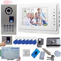 SUNFLOWERVDP Doorphone For Video Intercom Fingerprint/Code Unlock 7inch Color Monitor For Doorphone CCD Camera IP65 Waterproof