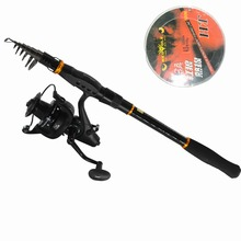 On sale Newest design1.8M-3.6M FISHING ROD SET Carbon Telescopic Fishing Rod And Spinning Fishing Reel Fishing Tackle Set