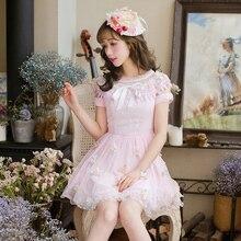Милое платье принцессы в стиле Лолиты; шифоновое платье с короткими рукавами; милое приталенное платье принцессы; C22AB7070