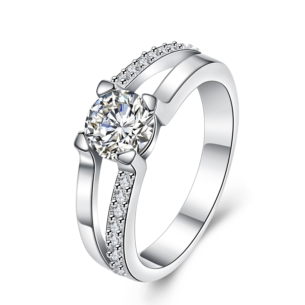 Engagement Crystal Elegant Rings For Women Top Selling New Store  Silver Plated Jewelry Delicate Rings