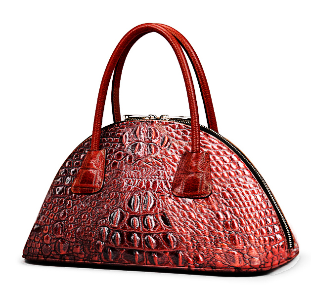 Accept private label Custom logo wholesale drop shipping Genuine leather women bag Nicely Embossed Crocodile Handbags for Ladies
