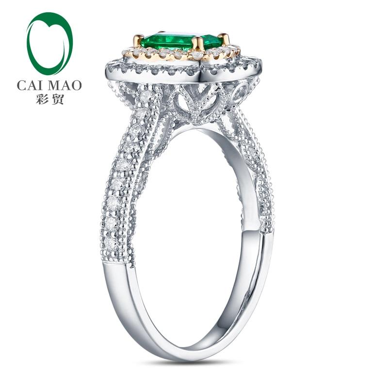 Antik 14ct Multi-Tone Emas 1.08ctw Natural Emerald H SI Berlian - Perhiasan bagus - Foto 3