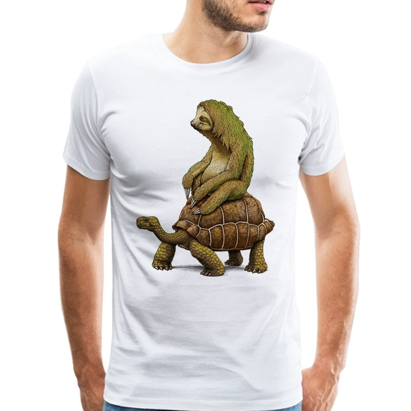 Intelligent Lordrock Men T Shirts Funny Design Speed Is Relative T-shirt Sloth On Tortoise Shirts Short Sleeve Casual Tops Tshirt Cool Tee