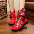 Winter Warm Boots Women's Cotton Short Ankle Boots Flower Embroidered Ladies Casual Canvas Platform Booties Wedges Shoes