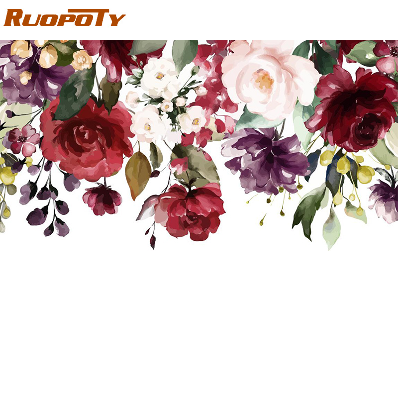 RUOPOTY Frame Diy Painting By Numbers Flowers Kit Wall Art Picture Home Decor Handpainted Coloring By Numbers For Living Room
