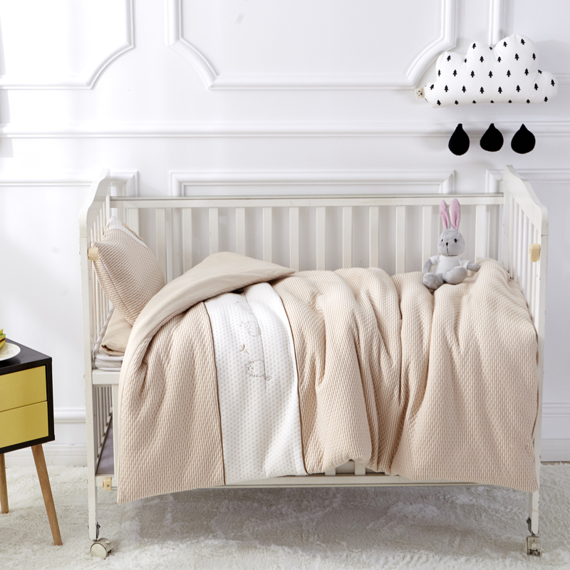 Cat Coffee Color 7Pcs Cotton Baby Cot Bedding Set Newborn Cartoon Bear Crib Bedding Detachable Quilt Pillow Bumpers Sheet Cot