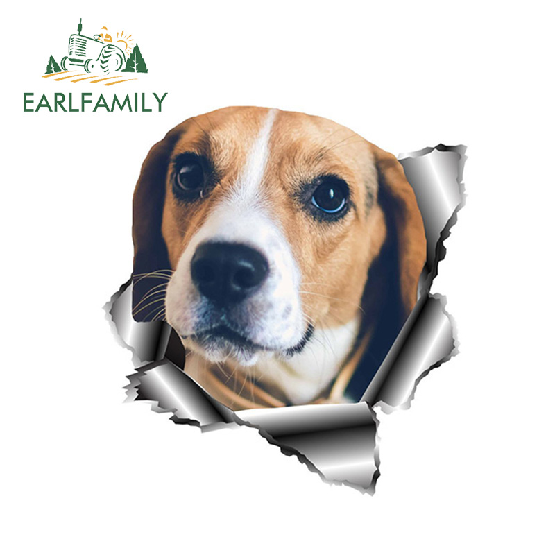 EARLFAMILY 13cm X 12.1cm 3D Beagle Car Sticker Torn Metal Pet Dog Decal Reflective Stickers Waterproof Car Styling Accessories