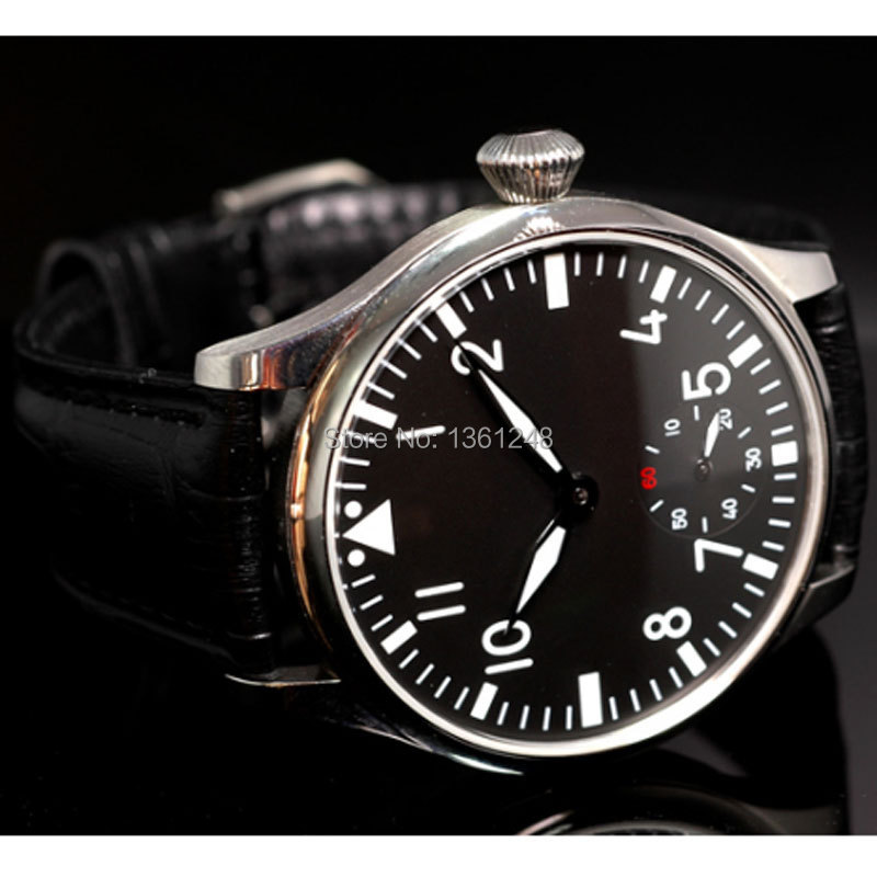 44mm parnis black white dial ST 6498 Mechanical manual wind mens watch P33 цена и фото