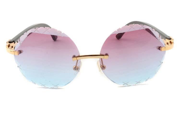 purplish blue Cut lenses black buffalo horn sunglasses 3524012(C), gold (2)