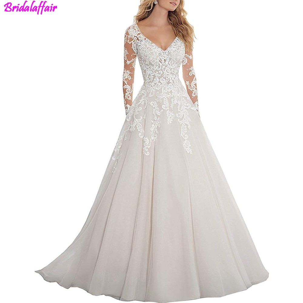 2019 Lace Wedding Dresses: 2019 Long Sleeves Wedding Dresses Lace Luxury Tulle Beaded