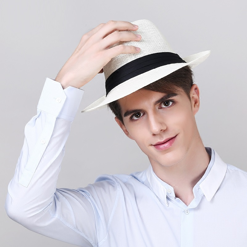 Mens Panama Hat Male Fashion Straw Sun Cap Wide Brim Bucket Sunscreen Cap Hawaiian Summer Beach Sun Straw Fedora Hats  B-8257