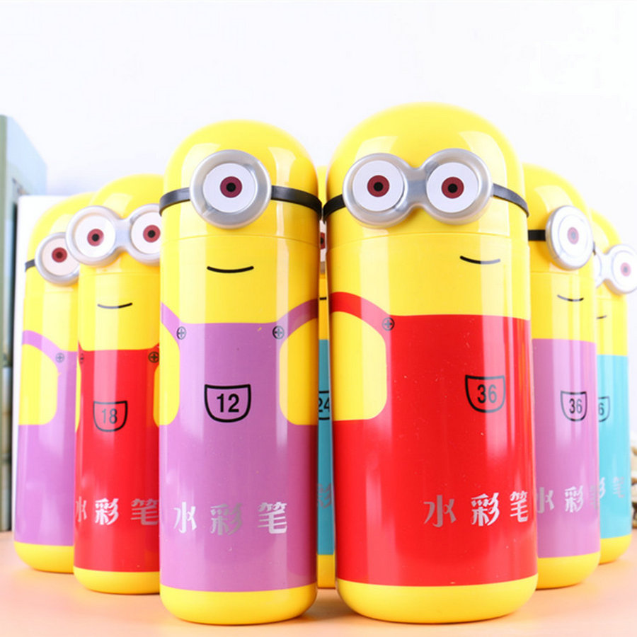 12-36 цветов маленькие желтые люди ребенок не токсичен граффити Цвет карандаш Детские Кисточки акварель офисные ручки маркер