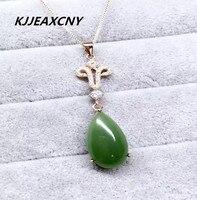 KJJEAXCMY boutique jewelry Hetian jade pendant, Jasper Pendant, S925 Sterling Silver Necklace, jewelry
