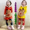 2 - 9 старых лет дети зима дети девочки sportwear хлопок толстовки + брюки 2 шт. комплект костюм тёплый толстовки одежда # M218