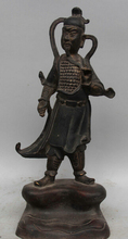 JP S0524 13″ Ancient China Chinese Bronze Stand warrior knight General knife sword Statue