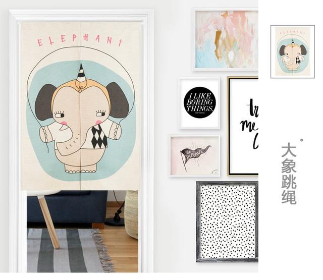 Japan Stil Baumwolle Kinder Cartoon Elefant Tr Vorhang Dekoration Hngen Schlafzimmer Wohnzimmer Kche Home Bar Kaffeehaus