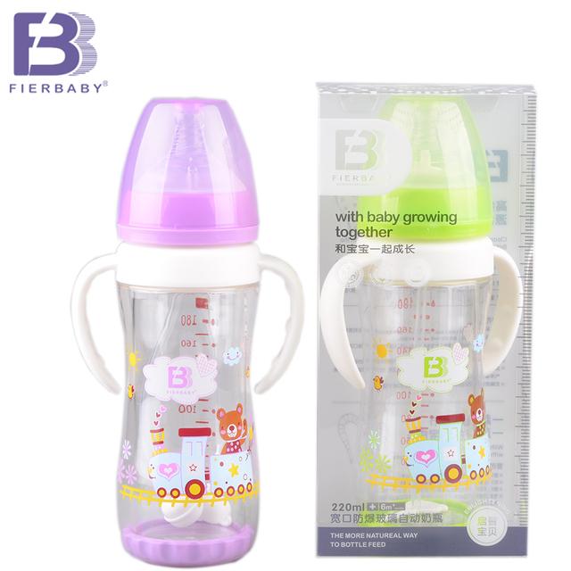 Alta Qualidade Fierbaby Bonito Dos Desenhos Animados Do Bebê à prova de Explosão-garrafa de leite do bebê Recém-nascido de Boca Larga Frasco De Vidro De Alimentação Automática