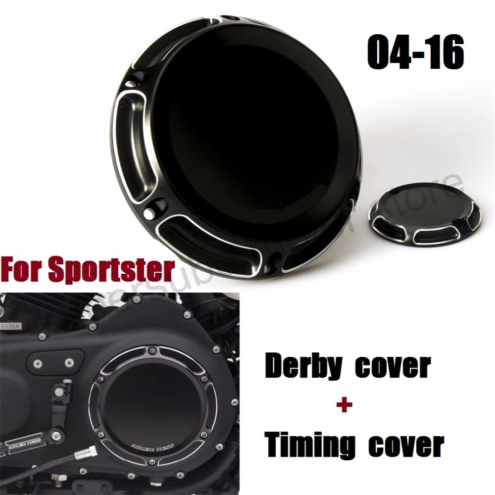 Motorcycle CNC 6-Hole Beveled Derby Cover & Timing Timer Covers For Harley 2004-2016 XL Sportster black motorcycle cnc 6 hole beveled derby cover