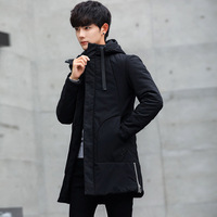 Winter Jacket men hooded Slim Korean long jacket cotton thick male high quality Casual fashion parkas cotton coat youth clothing