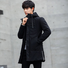 купить Winter Jacket men hooded Slim Korean long jacket cotton thick male high quality Casual fashion parkas cotton coat youth clothing по цене 3311.12 рублей