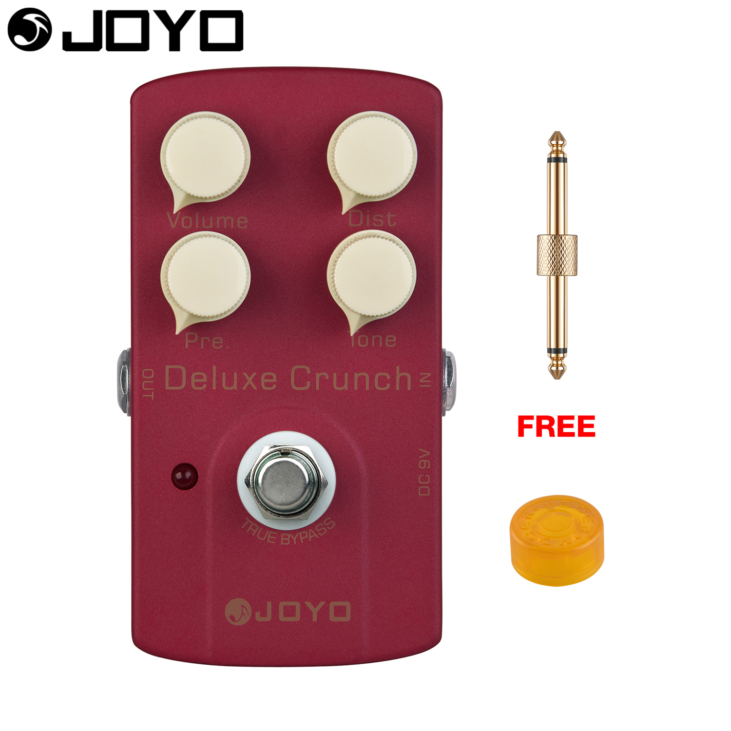 JOYO Deluxe Crunch Distortion Electric Guitar Effect Pedal True Bypass JF-39 with Free Connector and Footswitch Topper joyo jf 39 deluxe crunch overdrive guitar pedal effect true bypass red