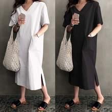 S-5XL Plus Size Summer Dress 2019 Celmia Women Sexy V Neck Short Sleeve Sundress Casual Loose Split Vintage Dress Vestidos Robe цена
