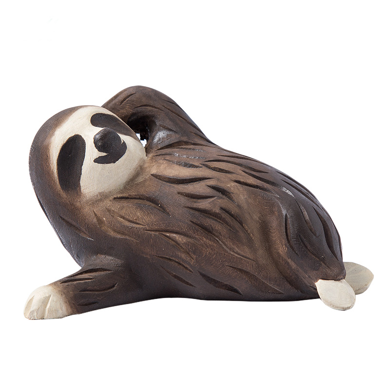Wooden Sloth Handmade Wood Animal Birthday Gift Art Decoration Toy title=