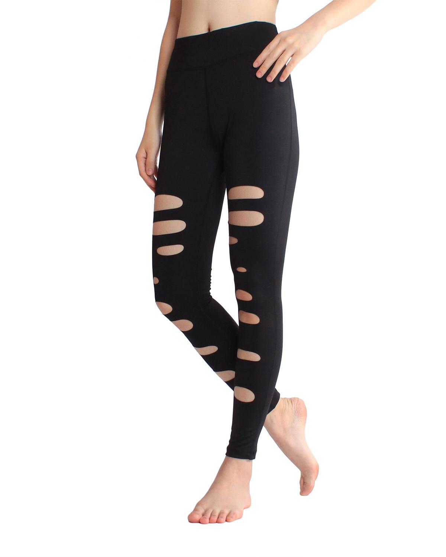 New Pattern Holes Yoga Pants Elastic Force Yoga Nine Part