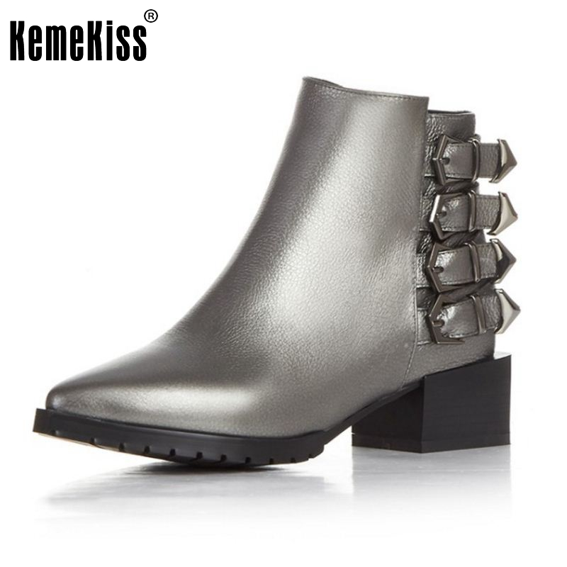 Brand New Women Real Leather Pointed Toe Ankle Boots Woman Square Heel Shoes Stylish Buckle Footwear Shoes Size 33-43 цены онлайн