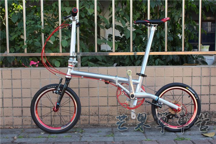 "HTB15tmFXOLrK1Rjy1zdq6ynnpXaQ Fnhon CR-MO Steel Folding Bike 16"" Minivelo Mini velo 9 Speed Bike  Bicycle overall bike V Brake"