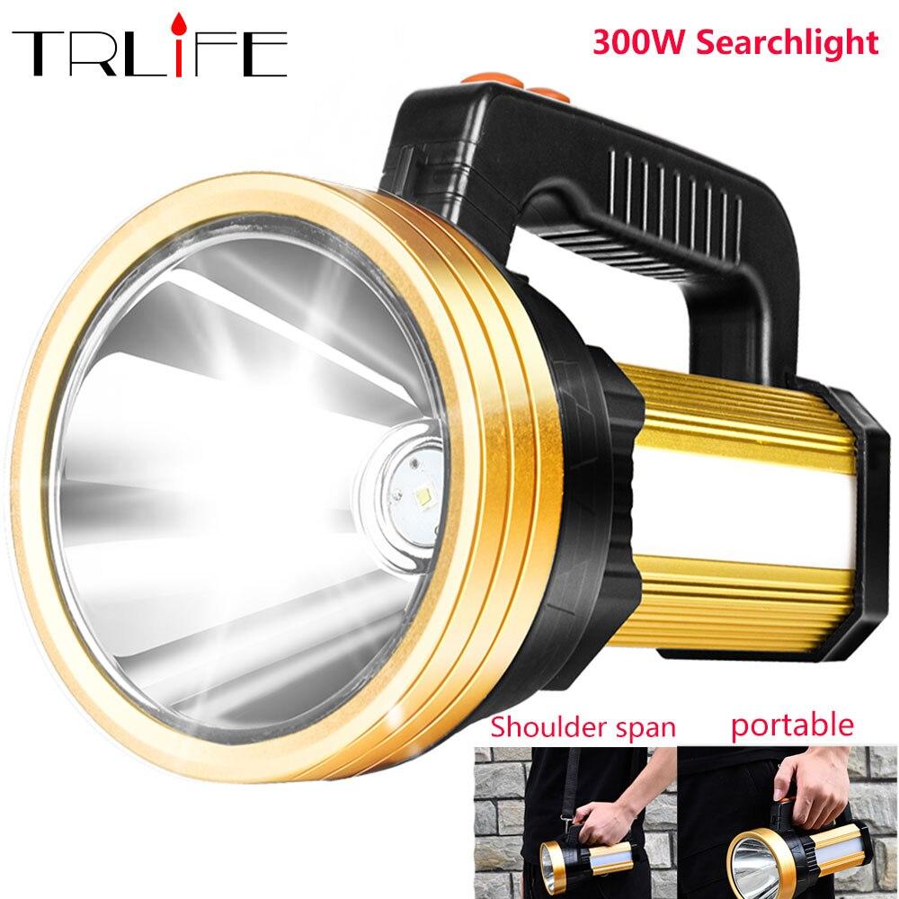 300 Вт встроенный 6000 мАч светодио дный фонарик рукой Spotlight Портативный USB Перезаряжаемые 3 режима светодио дный факел прожектор с боковыми кра...