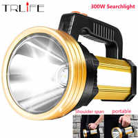 Built-in 7200mAh Powerful LED Flashlight Handed Spotlight Portable USB Rechargeable LED Torch Searchlight With Side red light