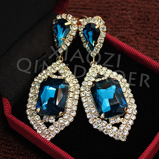 EH12 Blue ear no hole clip earrings without piercing no pierced ears cuff jewlery for women gold 2016 crystal costume jewelry
