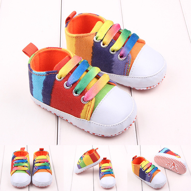 76d56fd20000 Rainbow Color Fashion Baby Boy Girls Sneaker Children Shoes Baby Shoes  First Walker Converse All Star