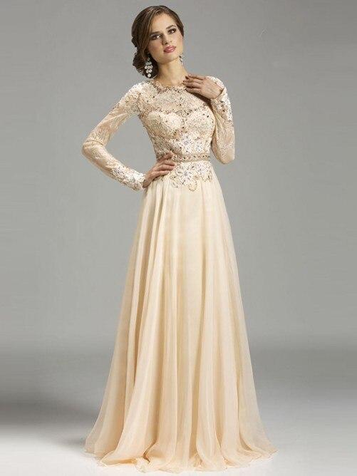 Elegant A Line Chiffon Long Sleeve Lace   Prom     Dresses   2016 vestidos de baile robe de bal galajurken