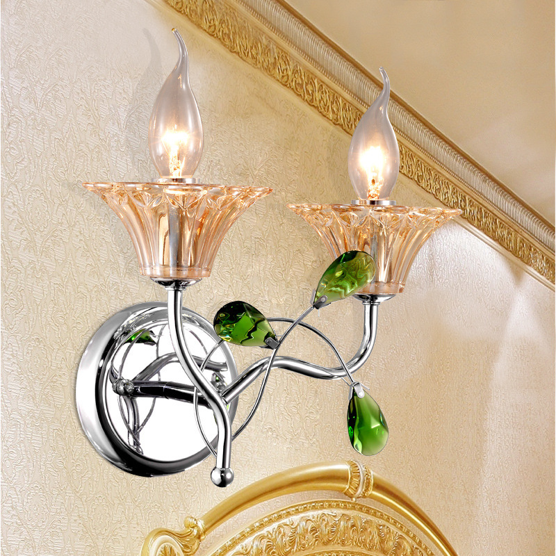 European-style wall lamp crystal wall lamp bedroom bedside hotel creative crystal lamps aisle lights staircase wall decoration lamps european style wall lamp bedside lamps simple creative north european style antique garden living room bedroom aisle light
