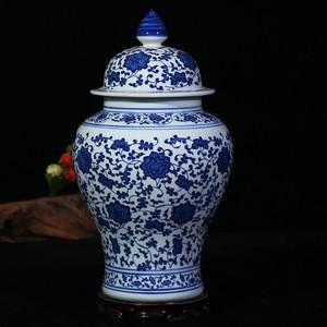 Image 5 - Chinese Style Antique Imposing Ceramic Ginger Jar Home Office Decor Blue and White Porcelain Vase