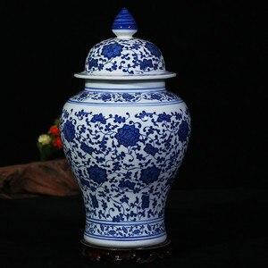 Image 5 - Çin Tarzı Antika Heybetli Seramik Zencefil Kavanoz Ev Ofis Dekor Mavi ve Beyaz Porselen Vazo