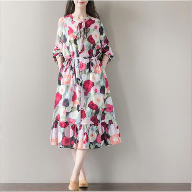 fd5a128db0 Women Summer Dress Long Sleeve Sundress with Bow Casual A Line Loose  Vintage Dress Mori Gril
