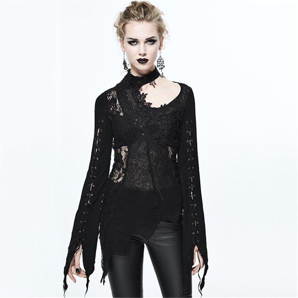 Steampunk Women Lace Shirts Sexy Halter Bandage T Shirts Transparent Long Sleeve Black Slim T shirt Tops