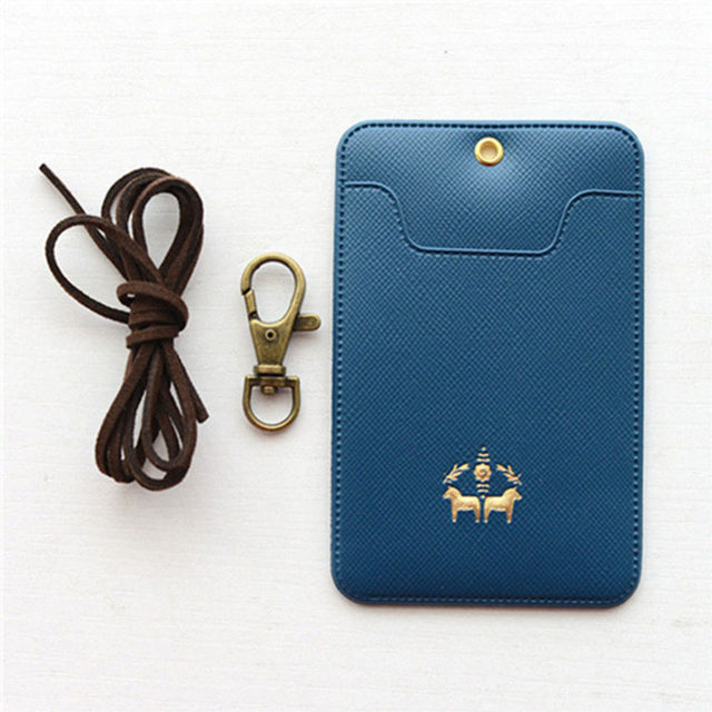 Online shop name badge card case business card holder pu leather name badge card case business card holder pu leather passport bus card cover with buckle nack lanyard company office supply colourmoves