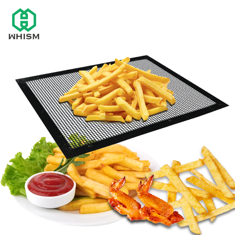 WHISM 40x33cm Heat Resistant BBQ Grill Mat Barbecue Grill Mats Cooking Sheet Non-stick Teflon Baking Mat BBQ Grilling Mesh Pad