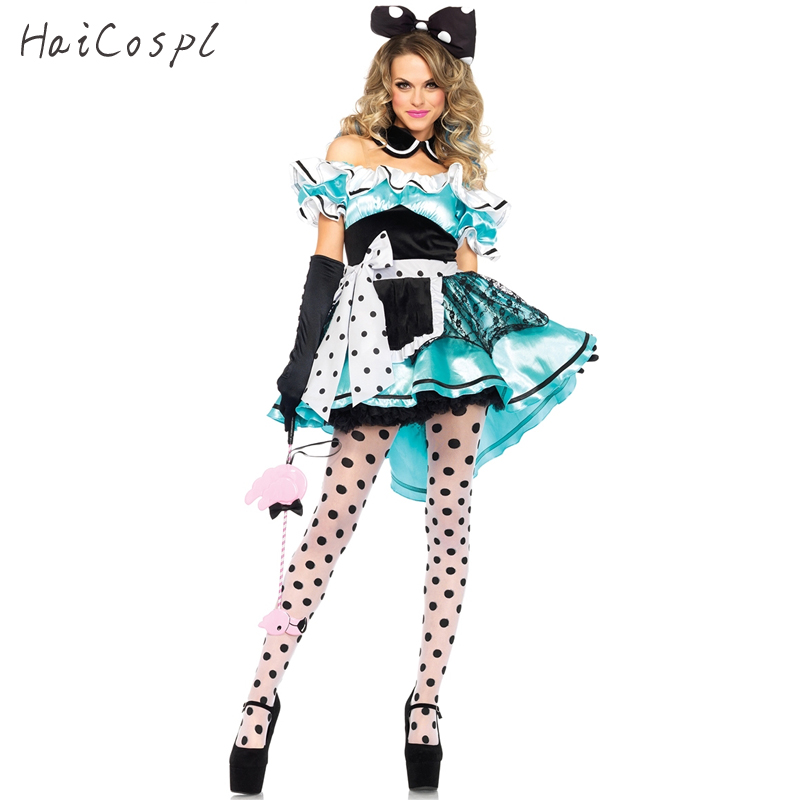 Halloween <font><b>Sexy</b></font> Dress Women Girls <font><b>Alice</b></font> <font><b>in</b></font> <font><b>Wonderland</b></font> Cosplay <font><b>Costumes</b></font> Off Shoulder Dot Party Fancy Maid Dresses image
